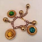 Kettenarmband Gold mit bunten Glassteinen