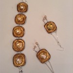 Kombi Goldarmband Ohrringe mit Glassteinen